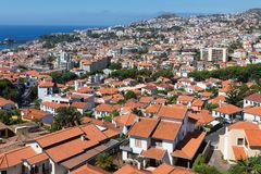 Aerial view of Funchal, capital city of Madeira Island Stock Images