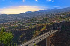 Aerial view at Funchal with a freeway bridge in foreground. Madeira island, Portugal. Aerial view at Funchal from Monte with a freeway bridge in foreground royalty free stock images