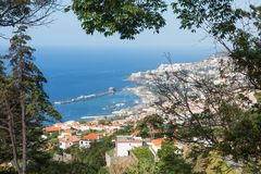 Aerial view at Funchal from the mountains of Madeira Island Stock Photography