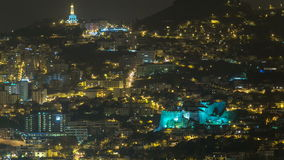 Aerial view of Funchal by night timelapse, Madeira stock footage