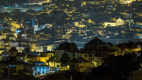 Aerial view of Funchal by night timelapse, Madeira stock video footage