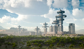 Aerial view of Futuristic City. Concept background stock illustration