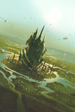 Aerial view of a futuristic city. Sci fi scenery,illustration painting stock illustration
