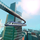 Aerial view of Futuristic City. Aerial  sunshine view of Futuristic City Stock Images