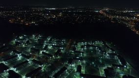Aerial View of Futuristic Housing/Apartment Complex stock footage