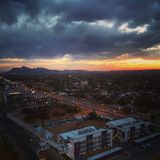 Aerial view of Gaborone. Botswana at sunset stock photos