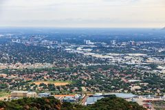 Aerial view of Gaborone city downtown spread out over the savann. Ah, Gaborone, Botswana, Africa, 2017 Royalty Free Stock Photos