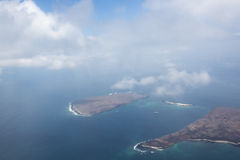 Aerial view of the Galapagos Islands, Ecuador. Aerial view of the Galapagos Islands in the middle of the Pacific ocean during the day taken from the airplane royalty free stock photography