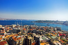 Aerial view of from Galata tower in Istanbul. Aerial view of Golden Horn Bay from Galata tower in Istanbul Stock Photo