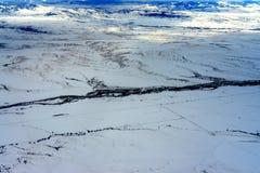 Aerial view Gallatin River Boseman Montana Stock Image