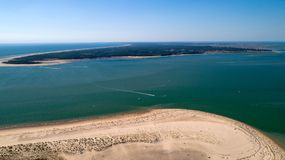 Aerial view of the Galon d'Or beach and Oleron island in Charente Maritime. Aerial view of the Galon d`Or beach and Oleron island in Charente Maritime stock images