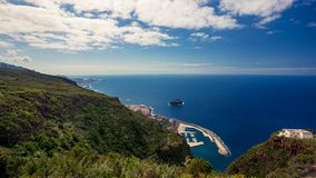Aerial view on Garachico rock and port stock photos
