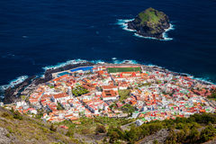 Aerial view of Garachico village in Tenerife stock images