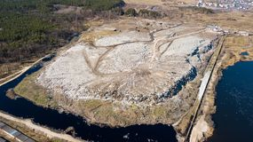 Aerial view of the garbage dump stock photo