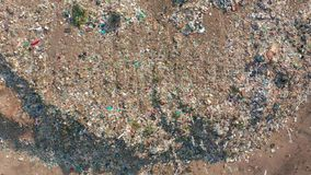 Aerial view. Garbage pile in trash dump. Environmental pollution from consumerism household. Aerial view. Garbage pile in trash dump. Environmental pollution stock video footage