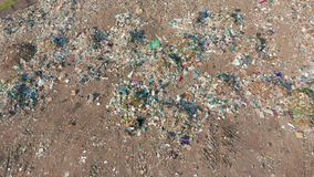 Aerial view. Garbage pile in trash dump. Environmental pollution from consumerism household. Aerial view. Garbage pile in trash dump. Environmental pollution stock footage