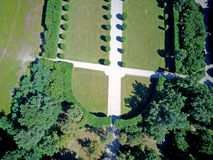 Aerial view of a garden with trees and avenues. Villa Arconati, Castellazzo, Bollate, Milan, Italy Royalty Free Stock Photo