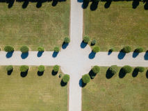 Aerial view of a garden with trees and avenues. Villa Arconati, Castellazzo, Bollate, Milan, Italy Stock Photography
