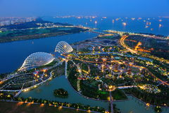 Aerial view of Gardens by the Bay in Singapore Royalty Free Stock Images
