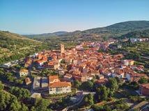 Aerial view of Garganta la Olla located in Extremadura Spain stock images