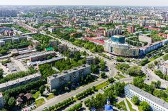 Aerial view on Gas and Oil University. Tyumen. Tyumen, Russia - May 25, 2015: Bird eye view onto Tyumen oil and gas university, 50 Let Oktyabrya street and city stock images