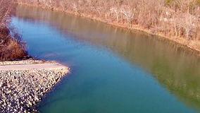 Aerial view of Gasconade River in Missouri stock video