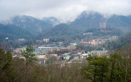 Aerial view of Gatlinburg in Winter Stock Photo