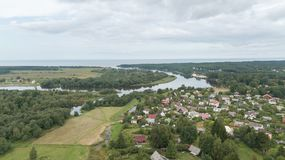 Aerial view of countryside Gauja lake field drone top view Stock Images
