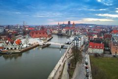 Aerial view of Gdansk old town at sunset Royalty Free Stock Photos
