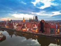 Aerial view of Gdansk old town at sunset Royalty Free Stock Image