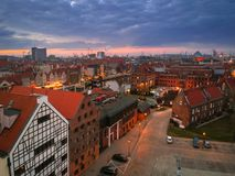 Aerial view of Gdansk old town at sunset Stock Images