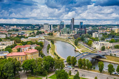 Aerial view from Gediminas tower. Aerial view: Old town buildings and Neris river visible from Gediminas tower in Vilnius, Lithuania, country in Middle Europe stock images