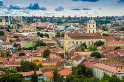 Aerial view from Gediminas tower. Aerial view: Old town buildings visible from Gediminas tower in Vilnius, Lithuania, country in Middle Europe stock photography