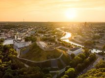 Aerial view of Gediminas` Tower, the remaining part of the Upper Castle in Vilnius, Lithuania. Stock Photography