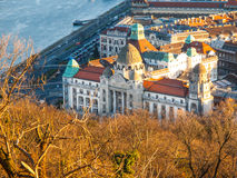 Aerial view of Gellert thermal spa historical building, Budapest, Hungary, Europe Stock Images
