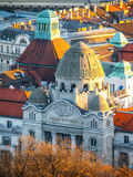 Aerial view of Gellert thermal spa historical building, Budapest, Hungary, Europe Royalty Free Stock Images