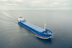 Aerial view of general cargo ship Royalty Free Stock Photos