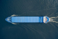 Aerial view of general cargo ship Stock Images