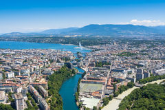 Aerial view of  Geneva city in Switzerland Stock Photography