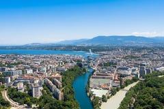 Aerial view of  Geneva city in Switzerland Stock Photography