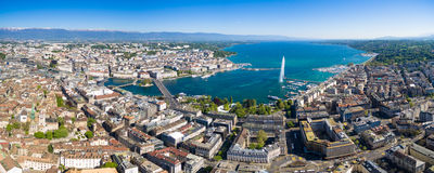 Aerial view of  Geneva city  Switzerland Royalty Free Stock Photos