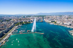 Aerial view of  Geneva city - Switzerland. Aerial view of  Geneva city in Switzerland Royalty Free Stock Photo