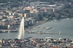 Aerial view of Geneva Switzerland center with its famous water spring and docks