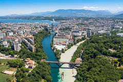 Aerial view of  Geneva in Switzerland Royalty Free Stock Images