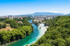 Aerial view of  Geneva in Switzerland Royalty Free Stock Photo