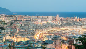 Aerial view of Genoa during the blue hour Stock Photography