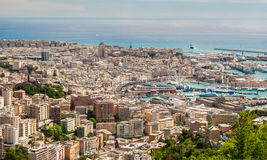 Aerial view of Genoa downtown seen from surrounding hills Stock Image