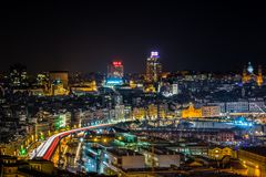 Aerial view of Genoa Genova Italy, the harbor with the causeway by night, Italy. stock photo