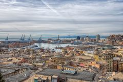 Aerial view of Genoa, Italy, the harbor with the hiistoric centre, Italy royalty free stock photography
