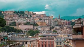 Aerial View of Genoa Skyline, Italy, Lantern Landmark, Liguria, Old Town. Cityscape stock video
